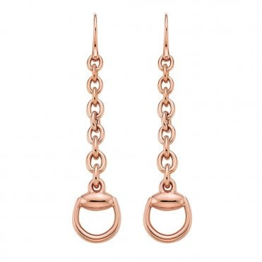 Horsebit 18ct Pink Gold Drop Earrings