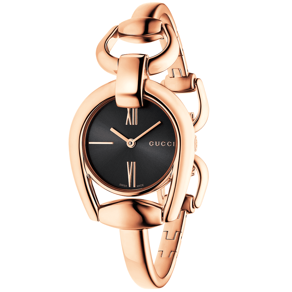 816b0c57040d Gucci Horsebit Rose Gold   Black Roman Dial Ladies Watch YA139507