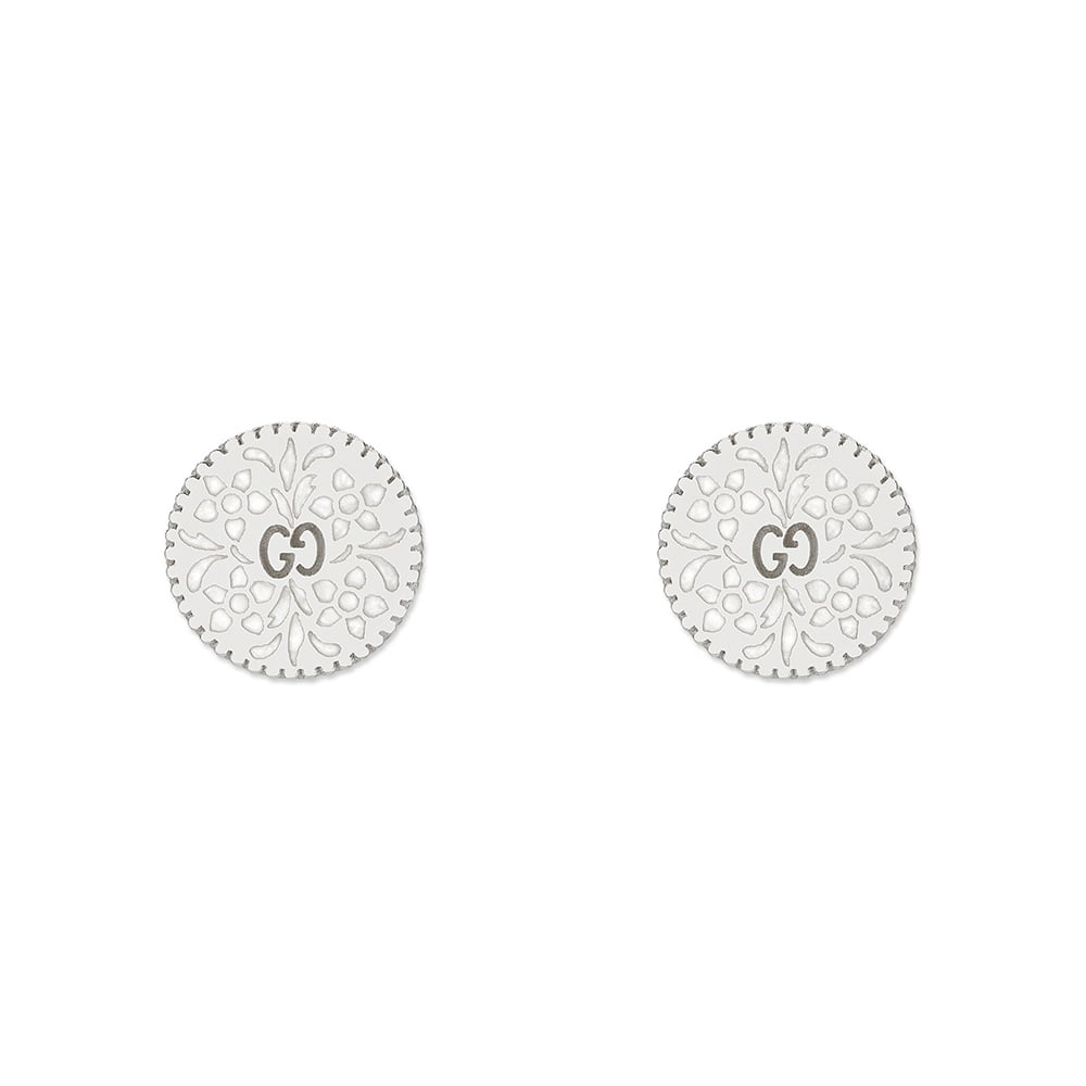 08fdffd96 Gucci Icon Blooms 18ct White Gold And White Enamel Stud Earrings