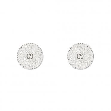 Icon Blooms 18ct White Gold And White Enamel Earrings