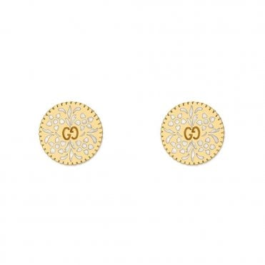 Icon Blooms 18ct Yellow Gold And White Enamel Earrings