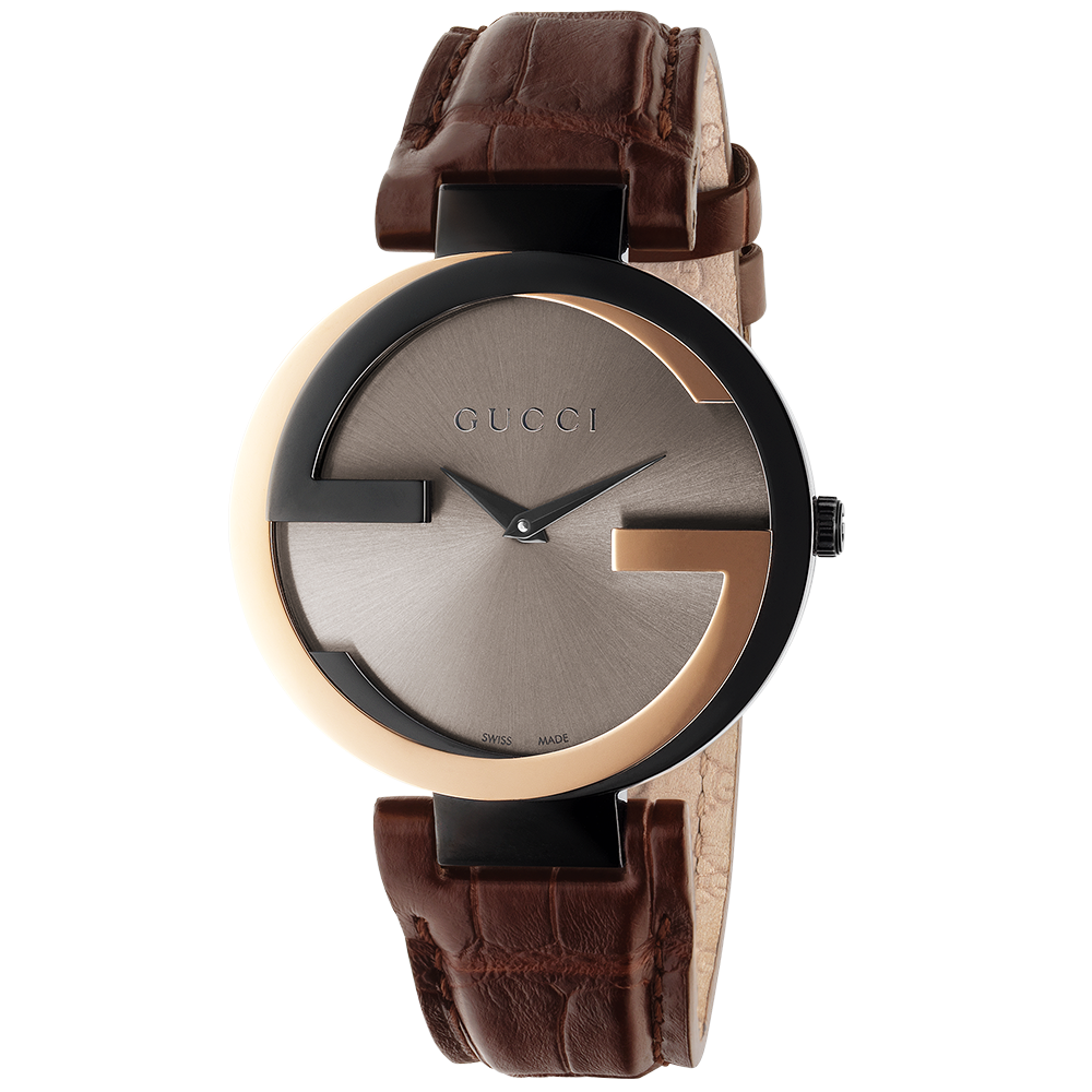 73e92bc26f3 Gucci Interlocking-G Rose Gold   Black Watch From Berry s Jewellers
