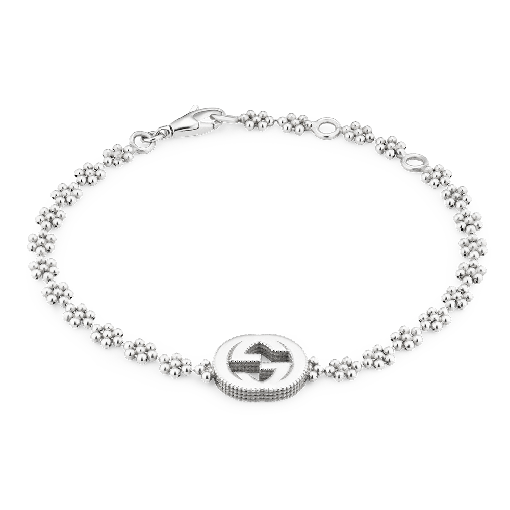 Gucci Interlocking G Sterling Silver Flower Link Bracelet From Berry\'s