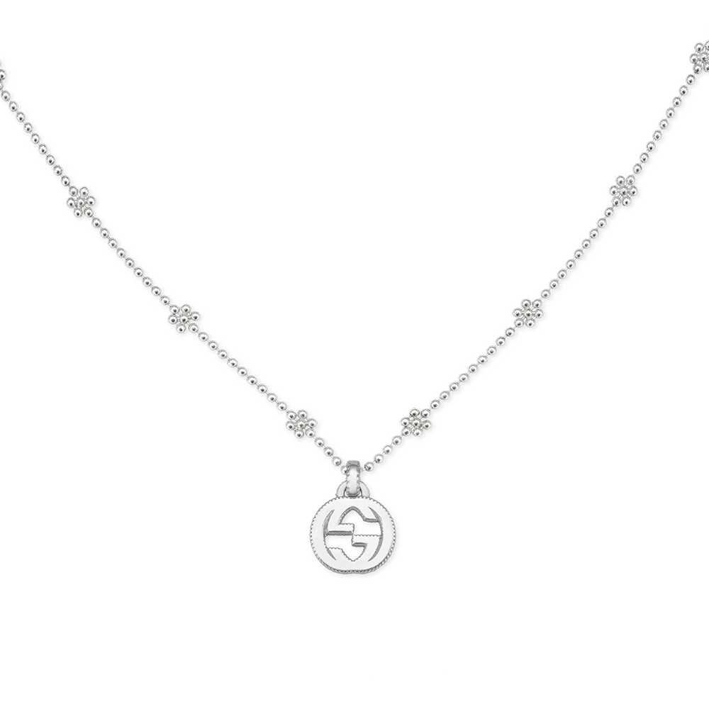 abdeb4cc753 Gucci Interlocking G Sterling Silver Flower Link Necklace From Berry s
