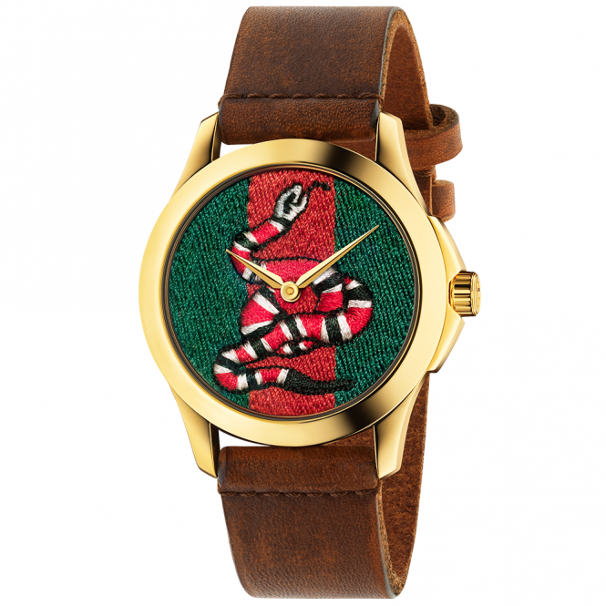 Gucci Le Marche des Merveilles 38mm Embroidered Snake Dial Watch