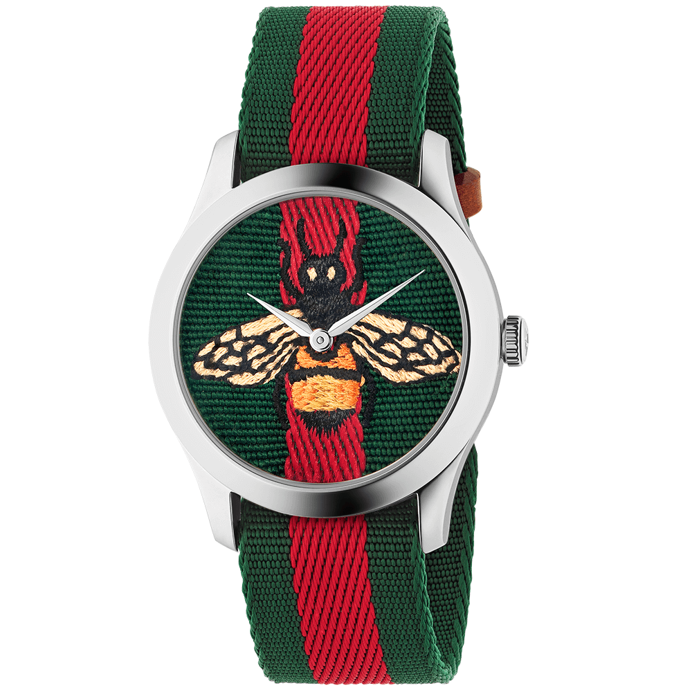 5678619f78e Le Marche des Merveilles 38mm Steel Red Green  amp  Bee Motif Dial Watch