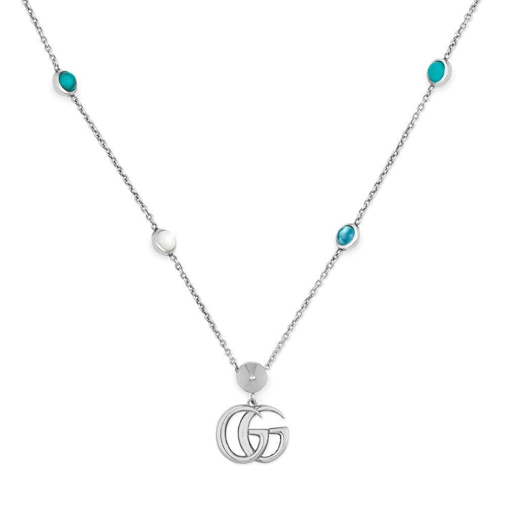 0be4f078d Marmont Sterling Silver Mother Of Pearl And Turquoise Resin Necklace