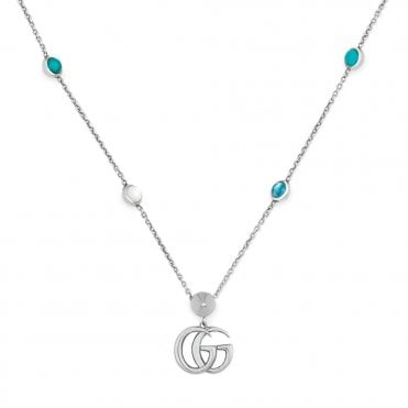 c6520fbea Marmont Sterling Silver Mother Of Pearl And Turquoise Resin Necklace ONLINE  ONLY