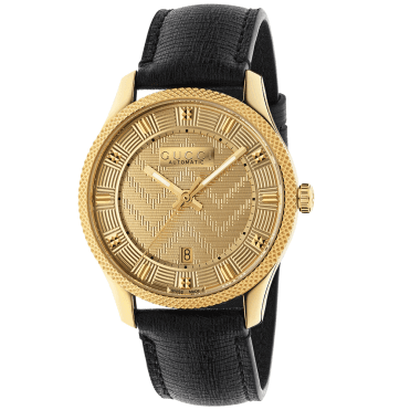 New Automatic 40mm Yellow Gold PVD Dial Men's Strap Watch