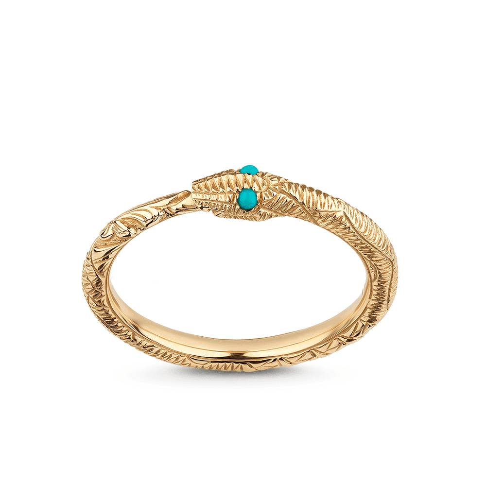 6b8ac1f6c Gucci Ouroboros Snake 18ct Yellow Gold And Turquoise Ring