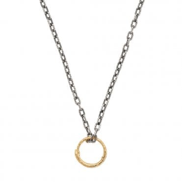 f737b8328 Ouroboros Sterling Silver and 18ct Yellow Gold Snake Pendant Necklace