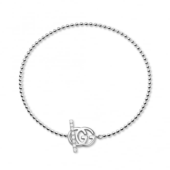 Gucci Running G 18ct White Gold Amp Diamond Set Boule Bracelet