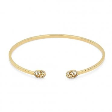 Running G 18ct Yellow Gold & Diamond Set Bangle