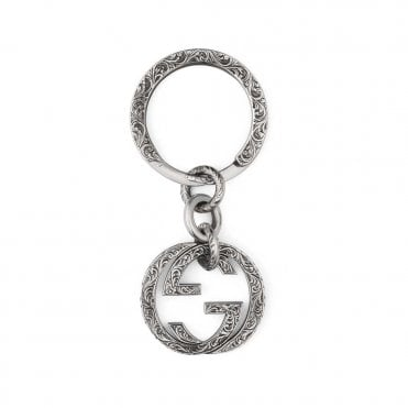 Silver Interlocking G Round Keyring