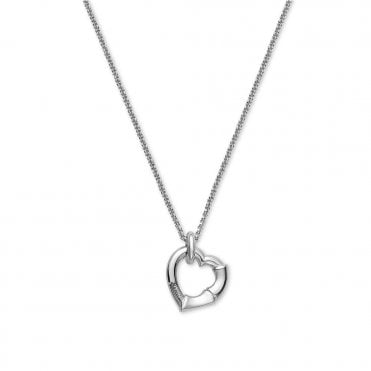 Sterling Silver Bamboo Heart Necklace