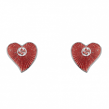 Sterling Silver & Red Enamel San Valentino Heart Stud Earrings