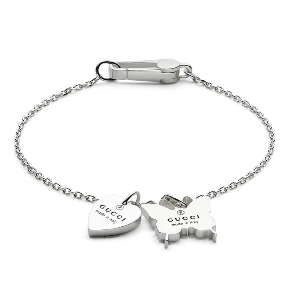 c92706418b5 Gucci Gucci Trademark Sterling Silver Heart   Butterfly Charm Bracelet