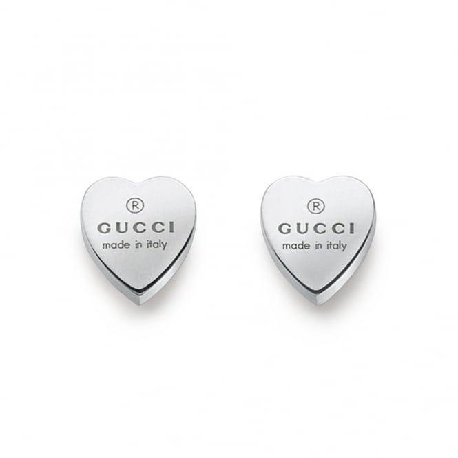 gucci trademark sterling silver heart stud earrings