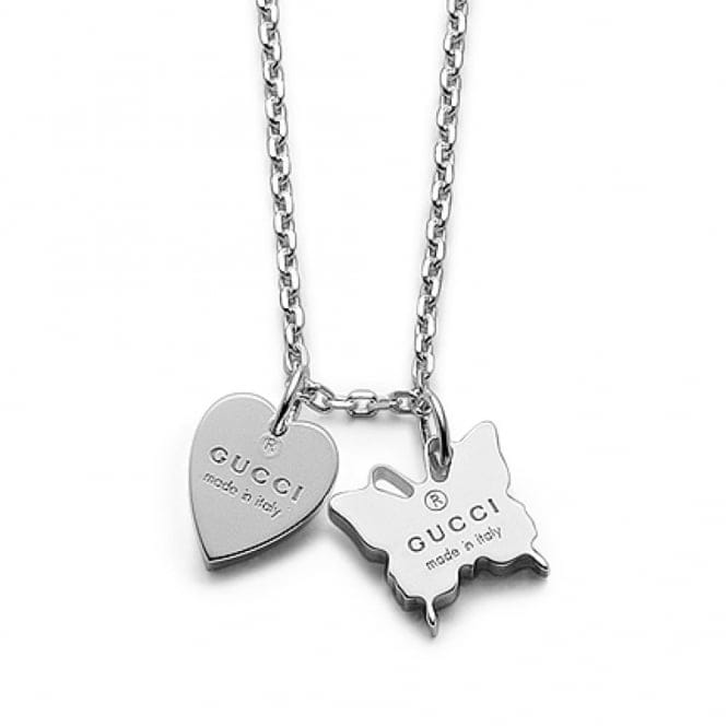 Gucci Trademark Sterling Silver Necklace With Heart & Butterfly Motifs