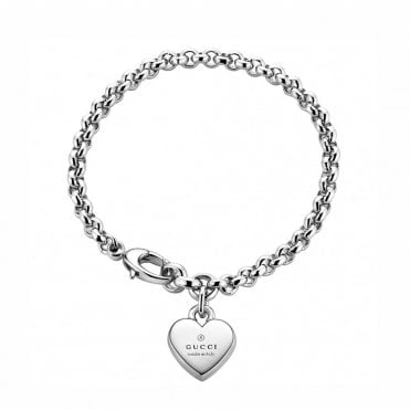 Trademark Sterling Silver Rhodium Plated Bracelet With Heart Charm