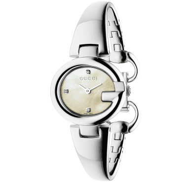 Guccissima 27mm Steel White Diamond Dial Ladies Bangle Watch
