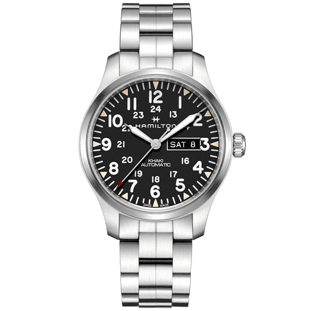 Khaki Field 42mm Day Date Black Dial Men S Bracelet Watch