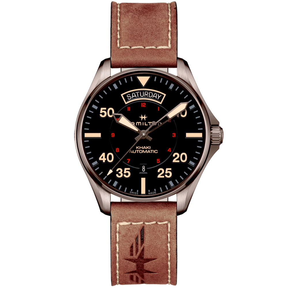 49c5ee447f6 Hamilton Khaki Pilot 42mm Day Date Automatic Men s Watch H64605531