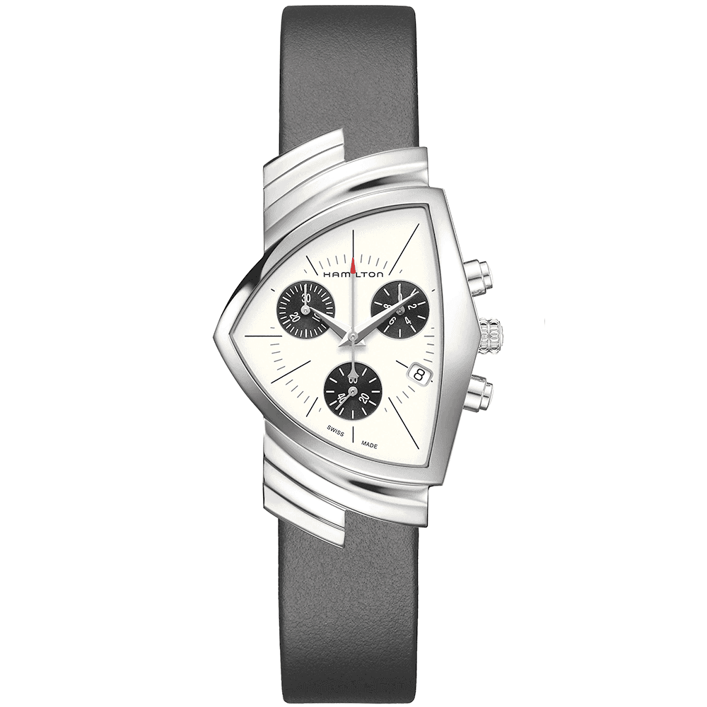 Ventura 32mm White Black Dial Ladies Leather Strap Watch