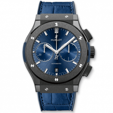 Classic Fusion 45mm Black Ceramic & Blue Dial Chronograph Watch
