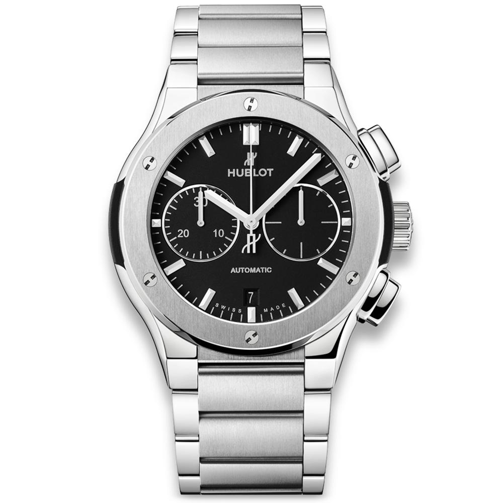 Hublot Classic Fusion 45mm Titanium Black Dial Men s Bracelet Watch 3c3e64a9e7