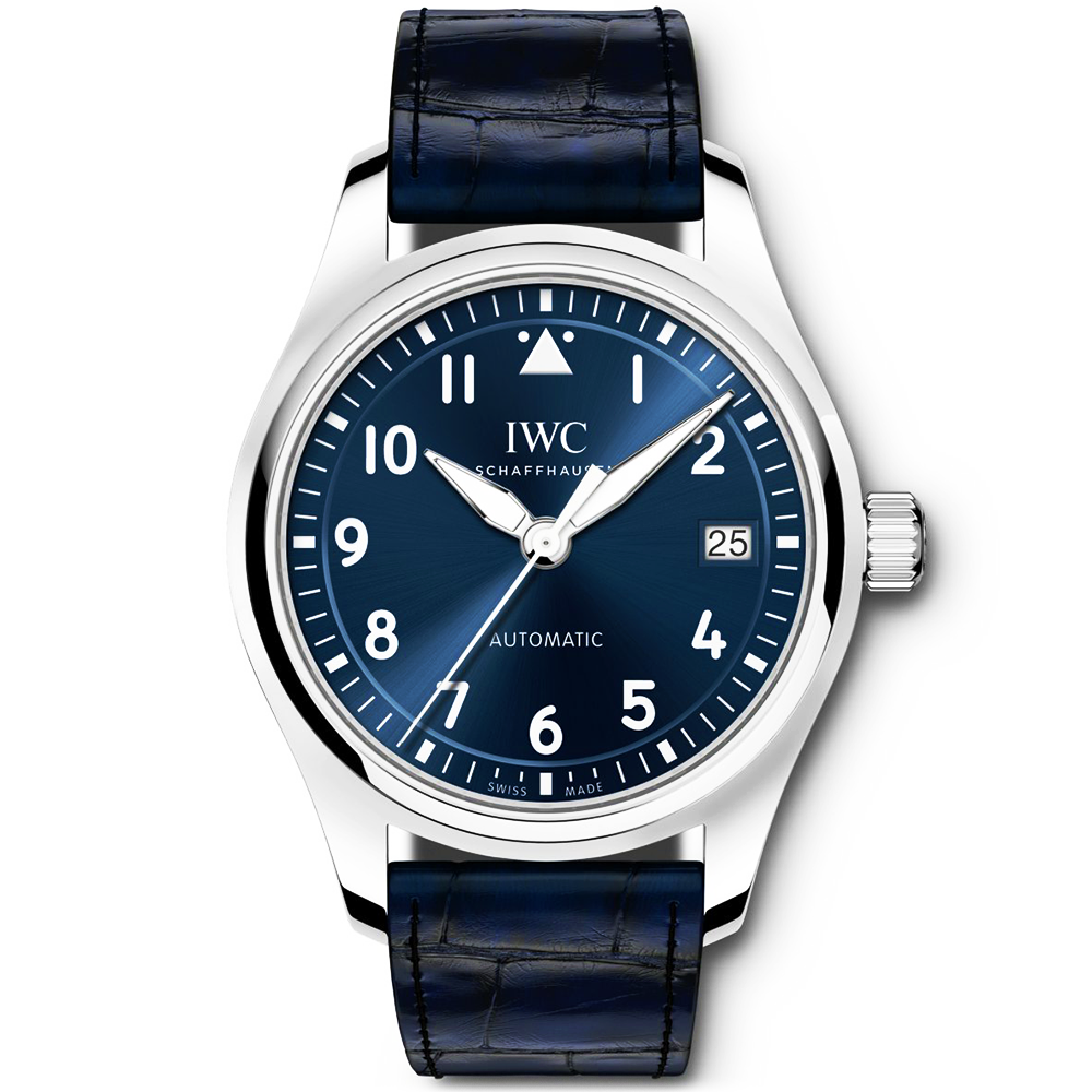 Iwc Pilot 36mm Blue Dial Amp Leather Strap Men S Automatic Watch