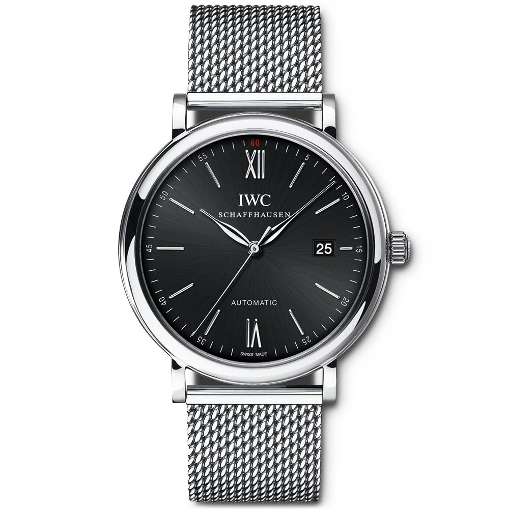iwc portofino automatic 40mm black dial men 39 s bracelet. Black Bedroom Furniture Sets. Home Design Ideas
