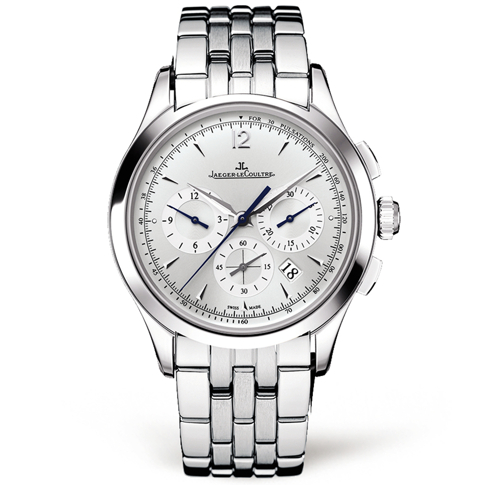 Jaeger lecoultre master chronograph steel silver dial automatic watch for Chronograph master