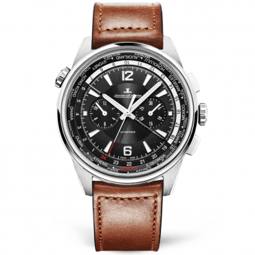 Polaris 44mm Titanium Black Dial Worldtime Chronograph Brown Strap Watch