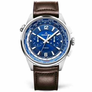 Polaris 44mm Titanium Blue Dial Worldtime Chronograph Brown Strap Watch