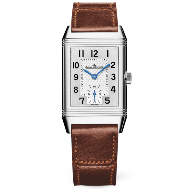 Reverso Classic Medium Duoface Silver Dial & Brown Strap Watch
