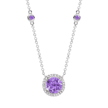 18ct White Gold Lavender Amethyst & Diamond Necklace