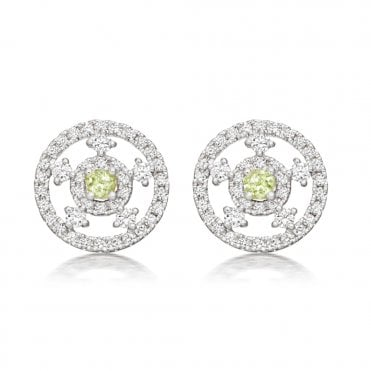 Apollo 18ct White Gold Green Amethyst and Diamonds Earrings