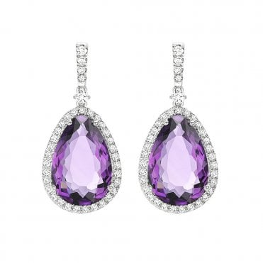 Candy 18ct White Gold Pear Cut Amethyst & Diamond Set Earrings