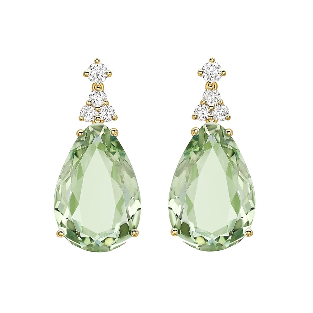 Kiki Mcdonough 18ct Yellow Gold Green Amethyst Amp Diamond
