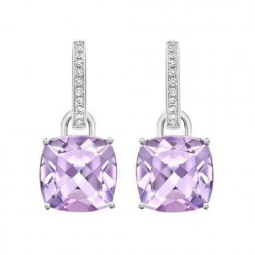 Classic 18ct White Gold Diamond & Lavender Amethyst Drop Earrings