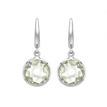 Classic 18ct White Gold Green Amethyst Earrings