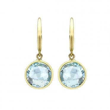 Classic 18ct Yellow Gold Blue Topaz Earrings