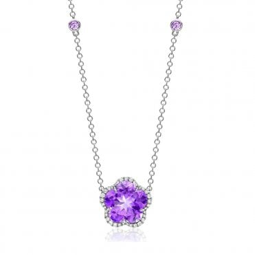 Eden 18ct White Gold Lavender Amethyst and Diamonds Flower Necklace