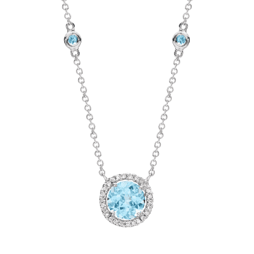 Grace 18ct White Gold Blue Topaz And Diamond Pendant