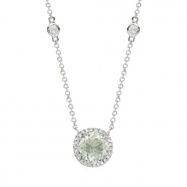 Grace 18ct White Gold Green Amethyst And Diamond Pendant