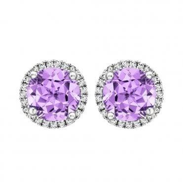 7470f6c3f Grace 18ct White Gold Lavender Amethyst Stud Earrings