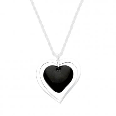 Black Kiss Crystal Heart Necklace