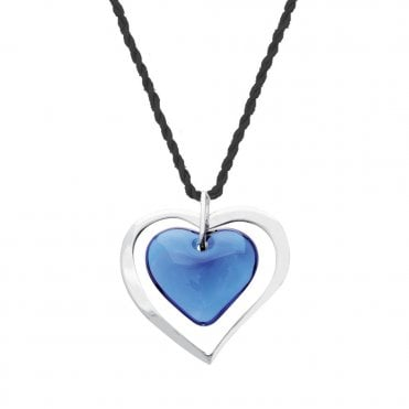 Blue Kiss Heart Necklace