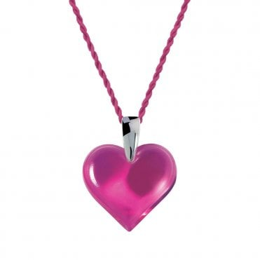 Lalique Fuchsia Crystal Heart Necklace